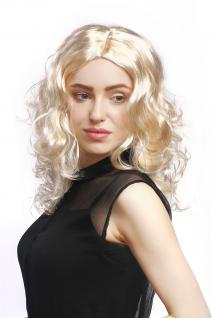 Perücke Damen Karneval lang Volumen Locken lockig Mittelscheitel blond hellblond