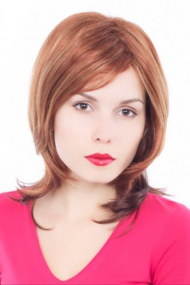 Perücke Damen rotbraun blond gesträhnt kurz schulterlang Scheitel 35cm GFW342A