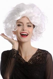 Perücke Damen Karneval Diva Hollywood kurz lockig wellig toupiert weiß weißblond