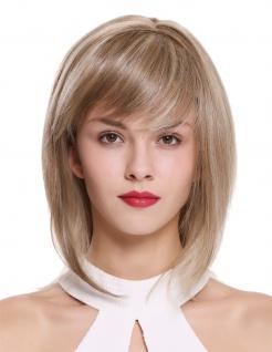 Perücke Damenperücke Teil-Monofilament kurz schulterlang Longbob blond gesträhnt