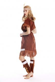 Kostüm Damen Frauen Damenkostüm Karneval lang Indianerin Gr. M W-0211 - Vorschau 4