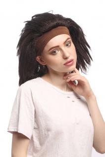 Perücke Damen Karneval Stirnband Schwarz Braun gekreppt Volumen Latina Karibik - Vorschau 3