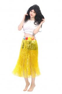 Karneval Hawaii Rock Bastrock Südsee Pazifik Hula Skirt Gelb Lang 75 - 80 cm
