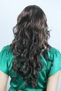 Damenperücke braun gestuft lockig Pony Frisur Haarersatz lang 60 cm 6313-04/05 - Vorschau 4