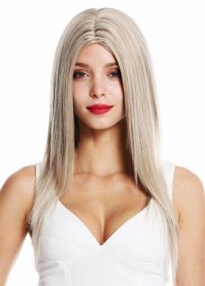 Perücke Damenperücke lang glatt Mittelscheitel Blond Platinblond Gesträhnt