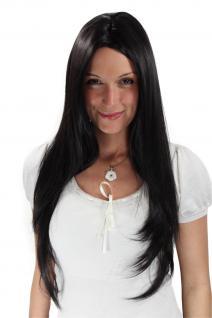 Damenperücke WIG SCHWARZ Mittelscheitel SEHR LANG glatt Haarersatz 75 cm 3217-2