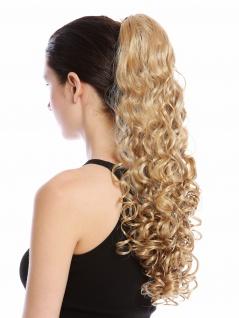 Haarteil Zopf Pferdeschwanz lang voluminös stark gelockt Blond Goldblond 50 cm