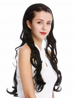 Halbperücke Haarteil Haarreif Haarband Schwarz wellig gelockt Locken lang 65 cm