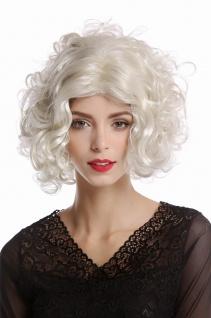 Perücke Damen Karneval Diva Hollywood kurz lockig Mittelscheitel platin blond