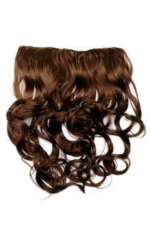 Clip-In Extension Haarverlängerung breit 5 Clip lockig hellbraun blond gesträhnt