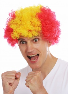 Perücke Karneval Afro Fan wig Fußball WM Rot Gelb Rot Spanien Perrücke