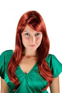 Kupfer-rote Damen Perücke lange glatte Seitenscheitel Haarersatz 60 cm 9213-350