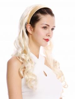 Halbperücke Haarteil Haarreif Haarband Platinblond wellig gelockt Locken lang