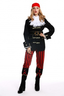 Kostüm Damen Frauen Karneval Halloween Piratin Seeräuberin Gr. S/M W-0210