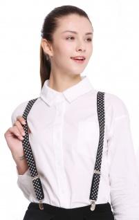 Hosenträger Suspenders Karneval Halloween schwarz weiße Punkte BB-022-black