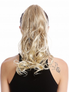 Haarteil Zopf Pferdeschwanz geflochtene Strähnen lockig gesträhnt blond platin