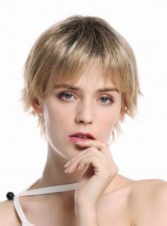 Damenperücke Perücke Frauen kurz wild lebhaft gesträhnt fransig Schwarz Blond