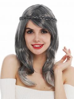Perücke Damen Karneval lang glatt grau meliert dunkelgrau geflochten Haarkranz