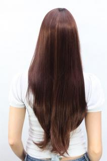 Perücke Damenperücke Rotbraun Blond gesträhnt lang Pony gescheitelt glatt 3111 - Vorschau 3