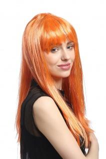 Perücke Karneval Fasching Damen lang glatt Pony orange Glitter Strähnen XR-003 - Vorschau 4