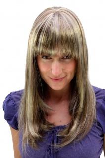 Damenperücke Perücke Hellbraun Blond gesträhnt Pony lang glatt 50 cm 6310-12TT26
