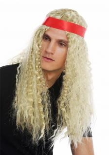 Perücke Karneval Damen Herren lang Stirnband Mittelscheitel Hippie blond Locken