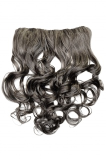 Clip-In Extension Haarverlängerung breit hinten 5 Clip lockig grau dunkelgrau