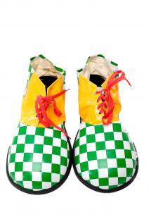 Karneval Zirkus Kinderparty Übergroß Clownschuhe Clown grün weiß kariert VQ-026E - Vorschau 1