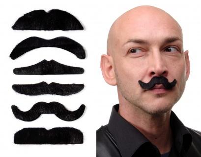 Karneval 6 Bärte Set Schnauzbärte Schnurrbärte Schnauzer Mustache schwarz MM-007