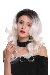 Perücke Damenperücke Lace Front Lang Teil-Mono Locken Ombre Schwarz Weiß