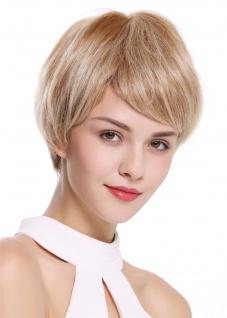 Perücke Damenperücke Monofilament kurz glatt burschikos Blond Platin gesträhnt