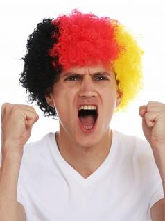 Perücke Karneval Afro Fan-Perrücke Fußball WM EM Deutschland Schwarz Rot Gold