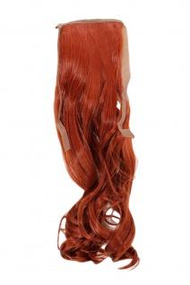 Haarteil ZOPF Rost-Rot wellig 45cm YZF-TC18-130 Band Klammer Haarverlängerung