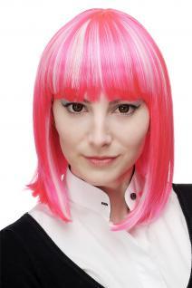 Perücke Damenperücke Cosplay Page Bob Cleopatra Pink Weiß/Platin gesträhnt H7862