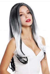 Perücke Damenperücke lang Mittelscheitel Ombre Balayage Schwarz Weiß Grau
