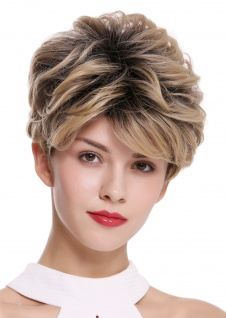 Damenperücke Perücke kurz toupiert voluminös wellig Schwarz Blond Mix DW2700
