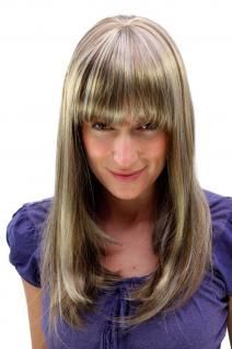 Damen Perücke helles braun mit blonden Strähnen Pony lang ca. 50 cm 6310-12TT26