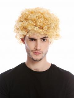 Perücke Herren Damen Karneval kurz kraus gelockt Locken kurzer Afro blond Mopp