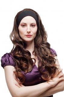 Haarteil Halbperücke Perücke an Stirnband lang gelockt Braun Mix H9308-2T30 65cm