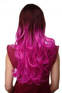 Extravagante Damen-Perücke Ombre Mahagoni-Braun Pink leicht lockig 60 cm H9704 - Vorschau 4