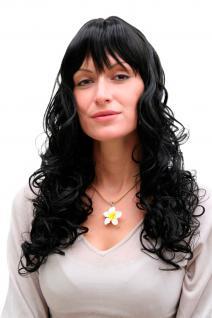 Perücke, Damenperücke, Wig, schwarz, lang, lockig, Locken, Haarersatz, 55 cm, M-103-1B