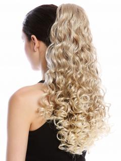 Haarteil Zopf Pferdeschwanz lang voluminös stark gelockt Blond Platin Gesträhnt