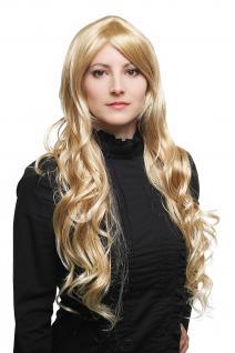 Damen Perücke heller blond-mix wellig sehr lang Haarersatz 80 cm 9321L-24BT613