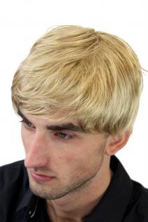 Herrenperücke Perücke Männer Blond Scheitel Herren Kurzhaarfrisur kurz GFW993-25