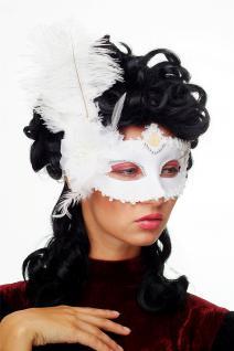 Karneval Venezianische Halb-Maske Damenmaske weiß Federn Society CMN-079 - Vorschau 3