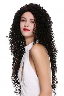 Damenperücke Perücke Lang Locken lockig Afro Karibik Style schwarz kupferbraun - Vorschau 2