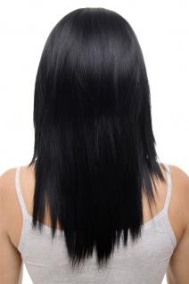Clip-in Haarteil mit 5 Klammern 3/4 Perücke schwarz tiefschwarz ca 50cm HD1401-1