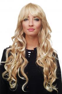 Damen Perücke Blondmix Locken Wellig Lang Seitenscheitel ca. 70 cm 9204S-15BT613