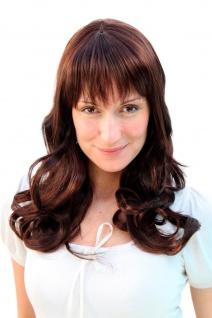 Damen Perücke lang brünett braun natürlich gesträhnt gewellte Haare 3001-2T33