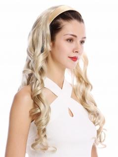 Halbperücke Haarteil Haarreif Haarband Aschblond Blond gelockt Locken lang 70 cm